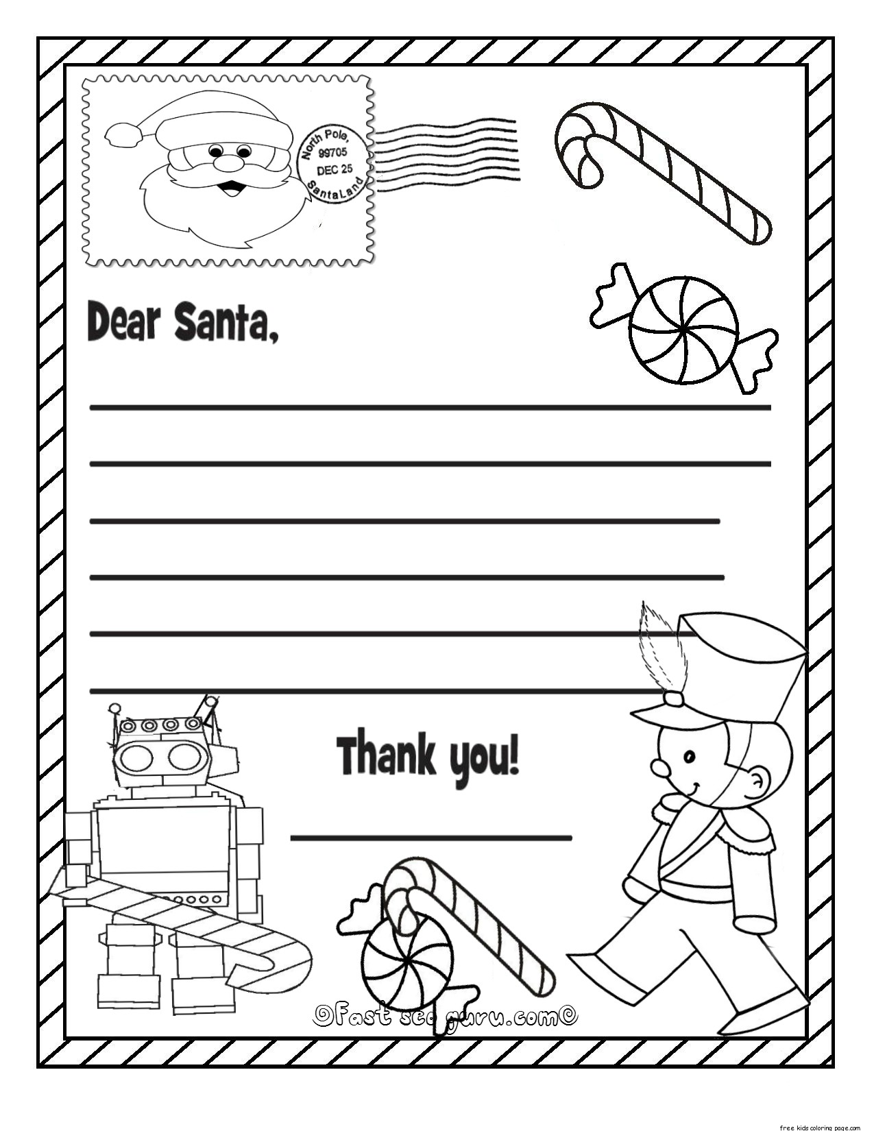 Printable christmas wish list to santa claus for kids for kidsFree