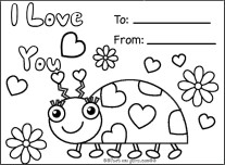 Printable Valentines day card coloring in card