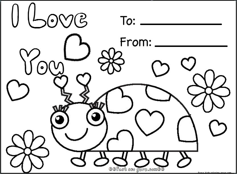 Free happy valentines day cards printablesfree printable for Free valentine coloring pages for kids
