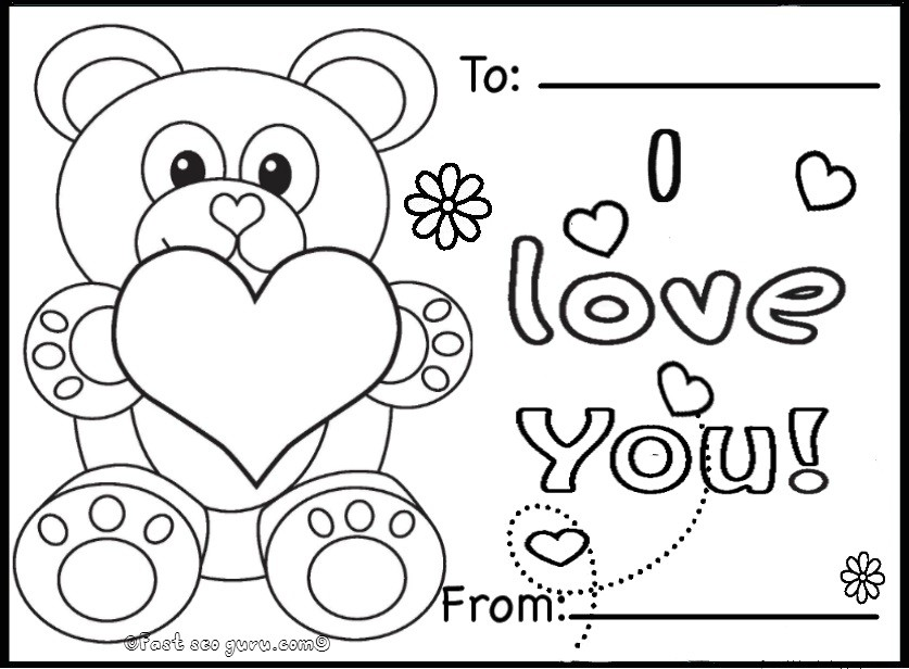 Printable valentines day cards teddy bearsfree printable for Free valentine coloring pages for kids