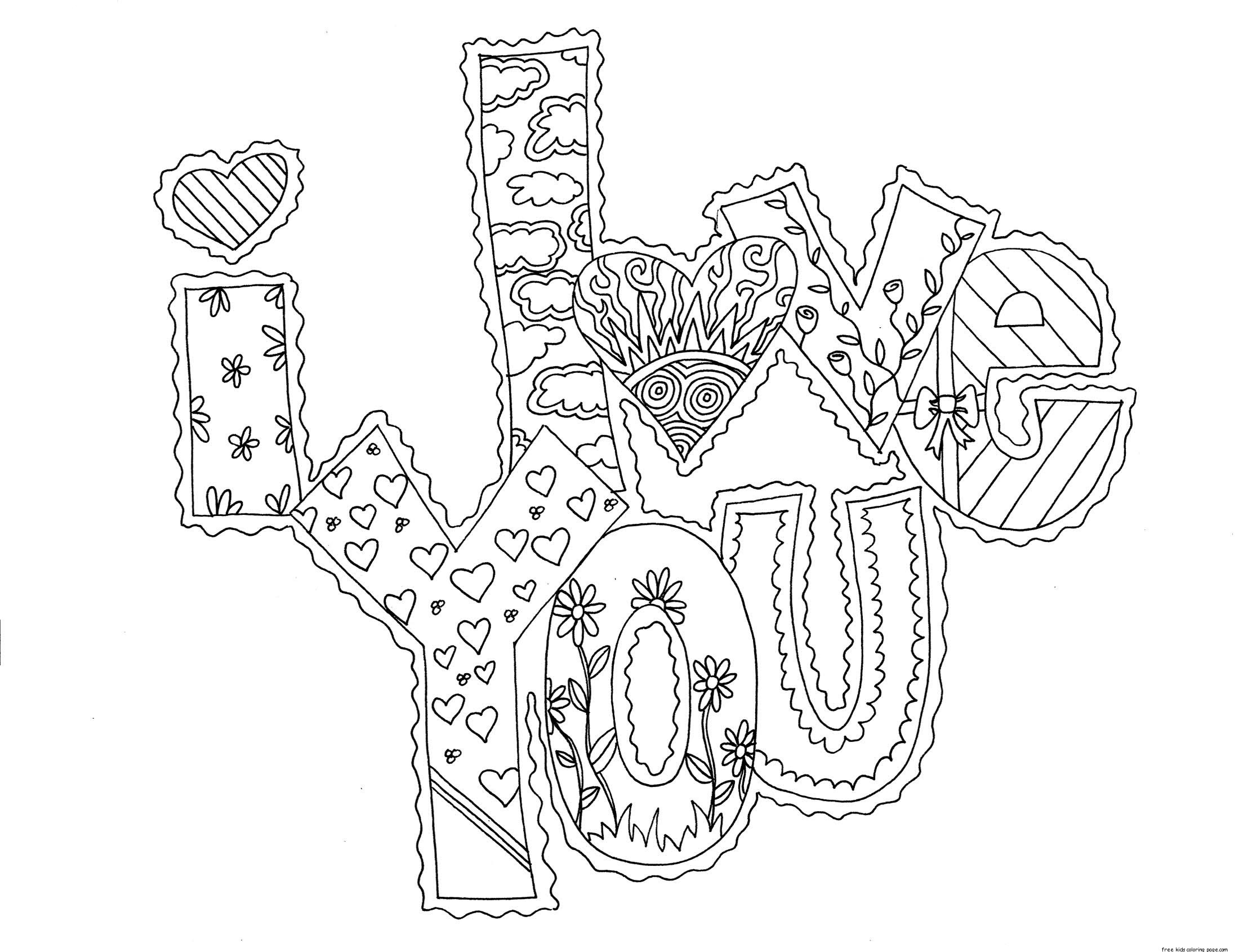 Printable Coloring Pages For Adults Love : Printable i love you my valentine cards coloring pagesfree