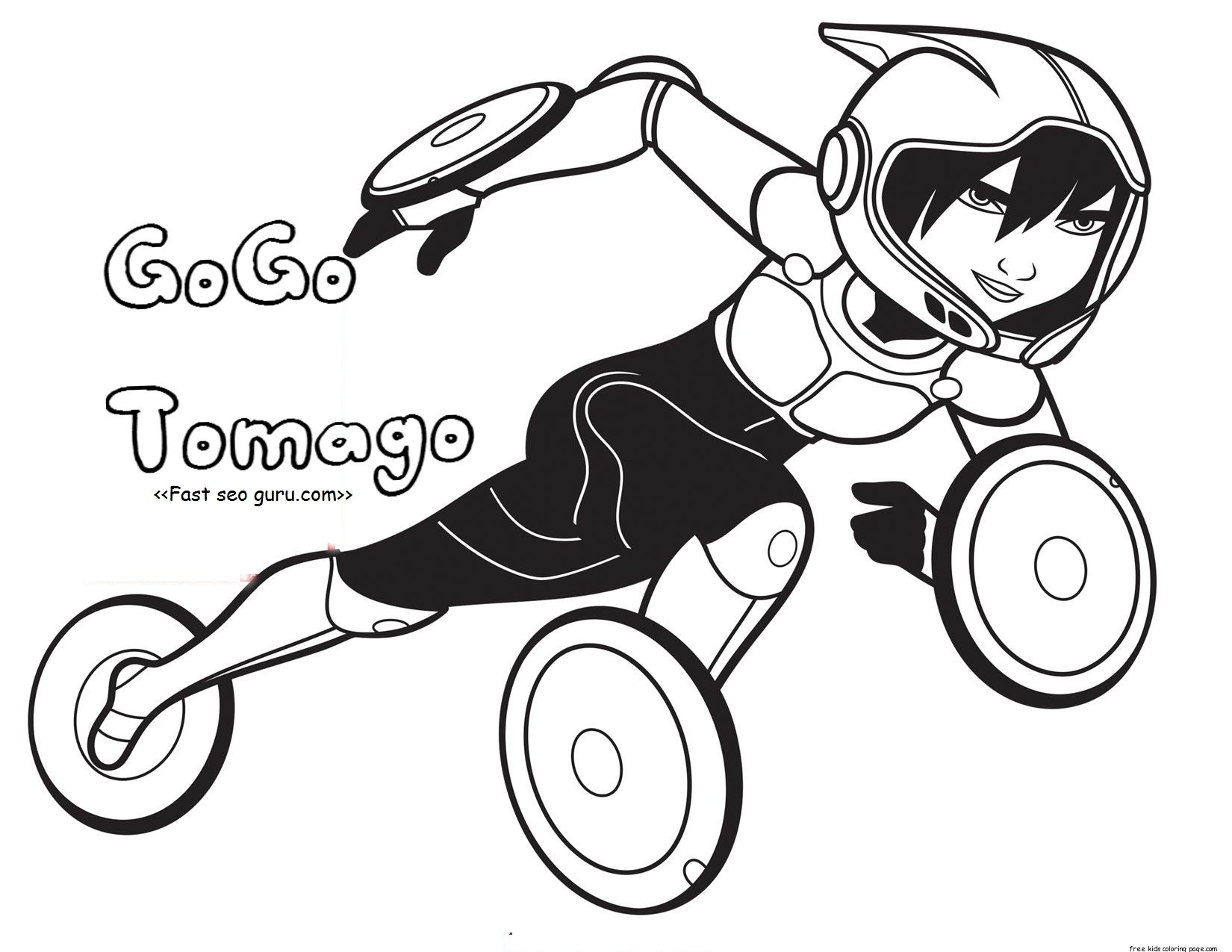 Printable Big Hero 6 Coloring Page GoGo Tomago