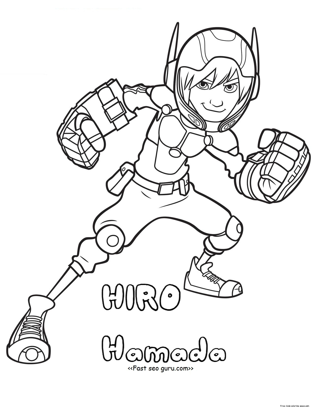Printable Big Hero 6 Coloring Page Hiro Hamada