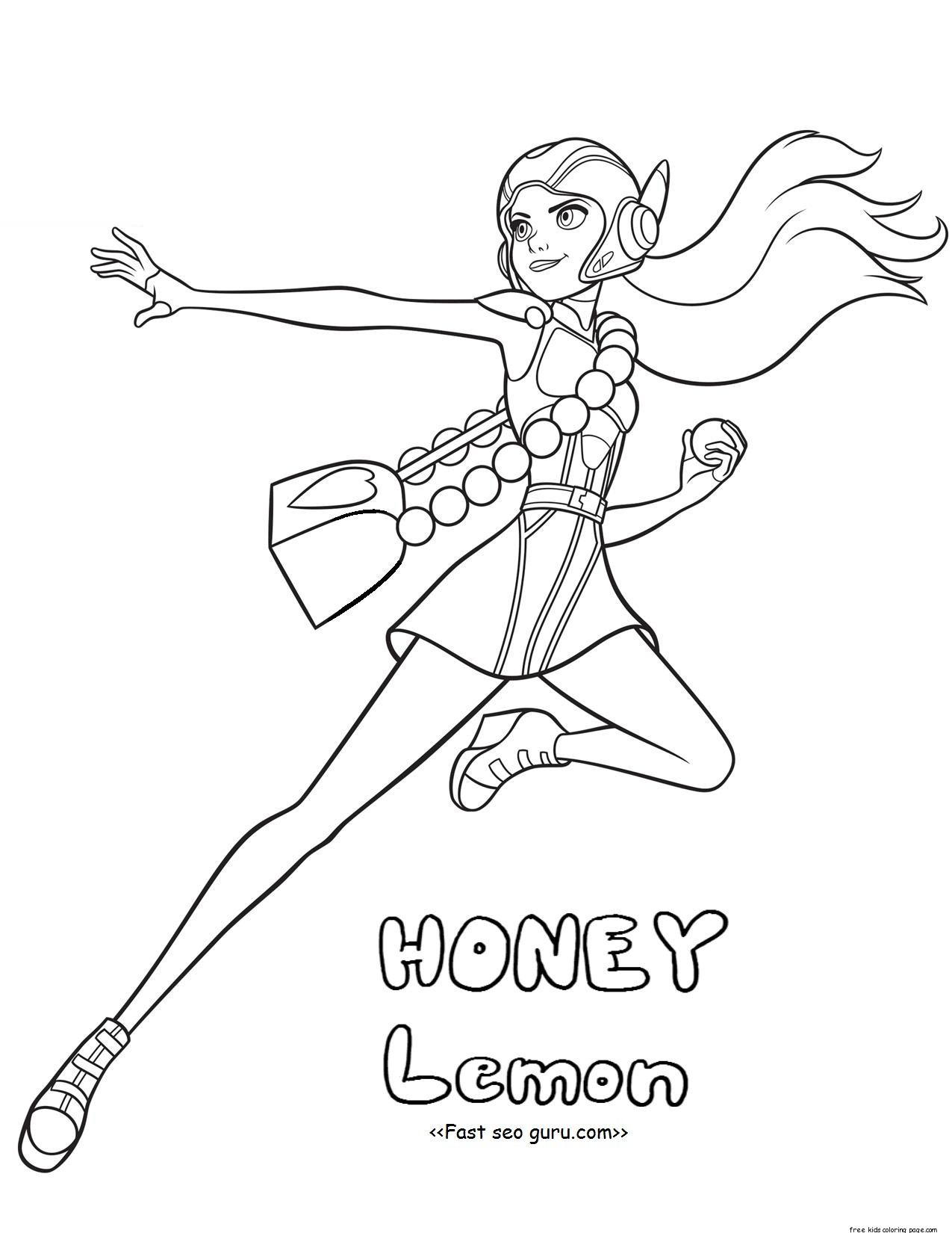 Printable Big Hero 6 Coloring Pages Honey Lemon For