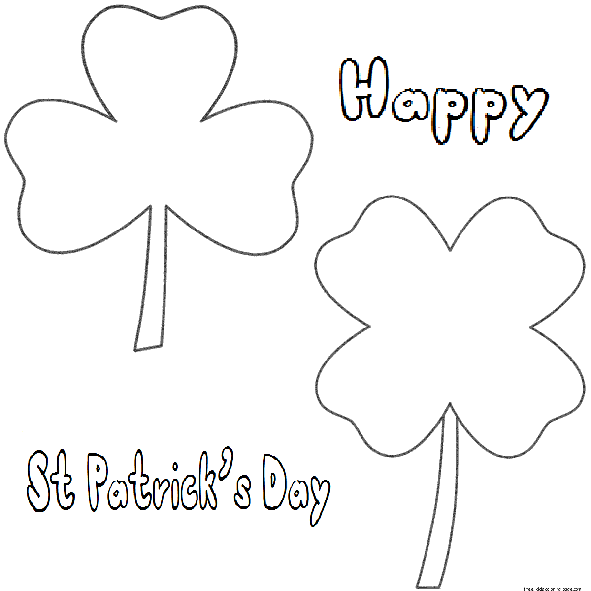 Printable three leaf clover coloring