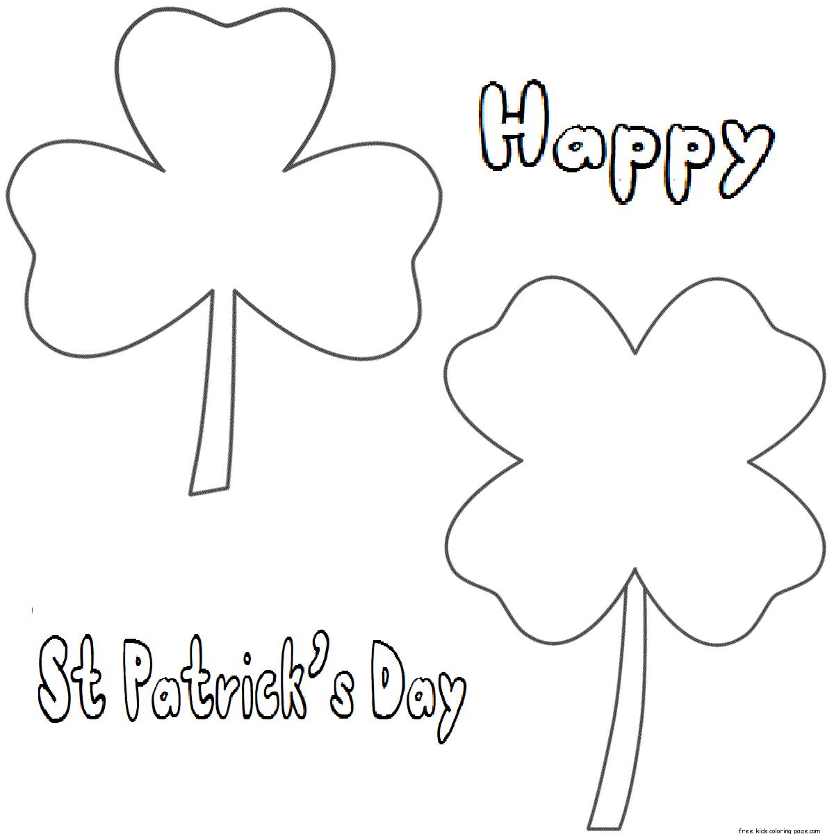 Printable three leaf clover coloring