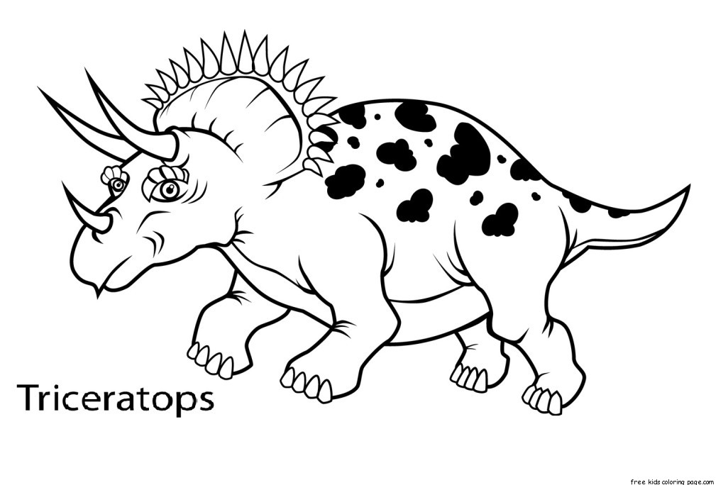 Printable triceratops dinosaur coloring book pagesFree Printable
