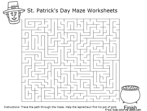 Cat st patricks day tags activities fargelegge tegninger leprechaun maze pot of gold st patricks day worksheets previous post printable three