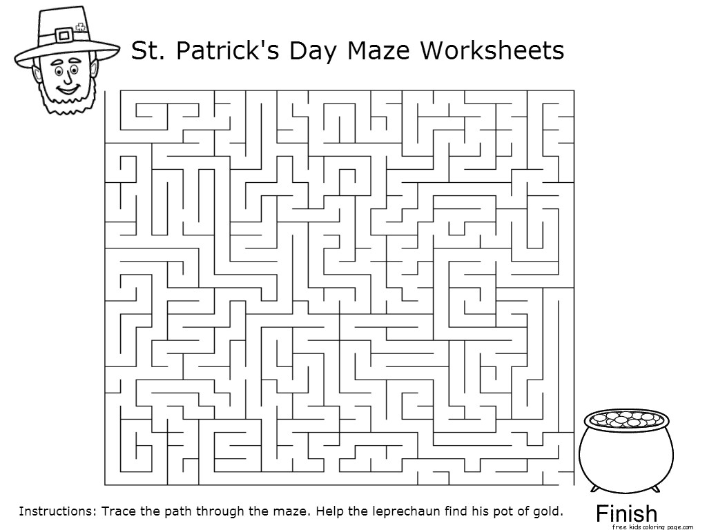 Printable st patricks day maze worksheets for kidsFree