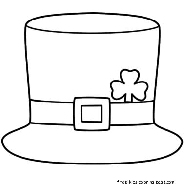 printable leprechaun hat coloring page for kidsFree Printable