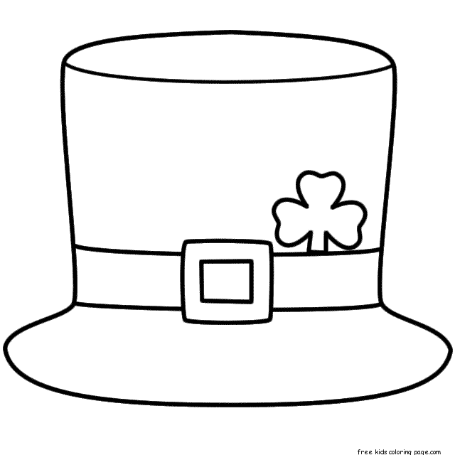 Printable leprechaun hat coloring page for kidsfree for Leprechaun hat template printable