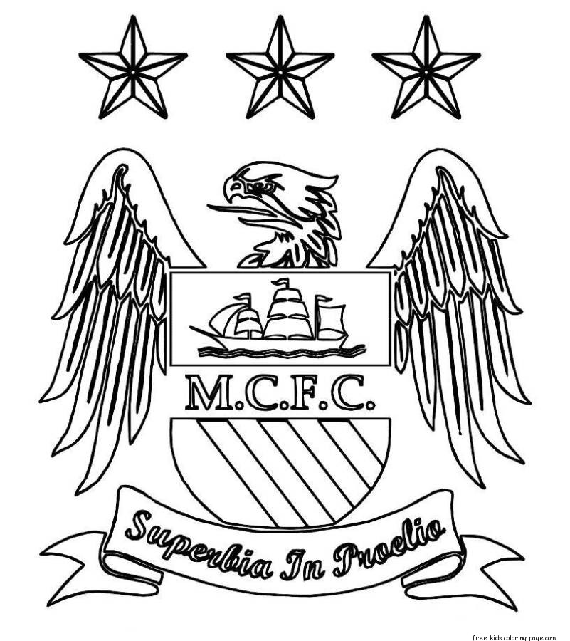 Line Art Man : Printable manchester city logo soccer coloring pagesfree