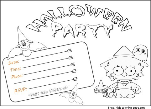 Free activities kids halloween party invitations