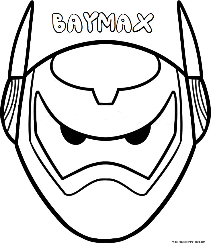 Print Out Mask Big Hero 6 Baymax ArmorFree Printable Coloring
