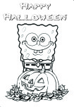 Printable Happy halloween spongebob coloring in page