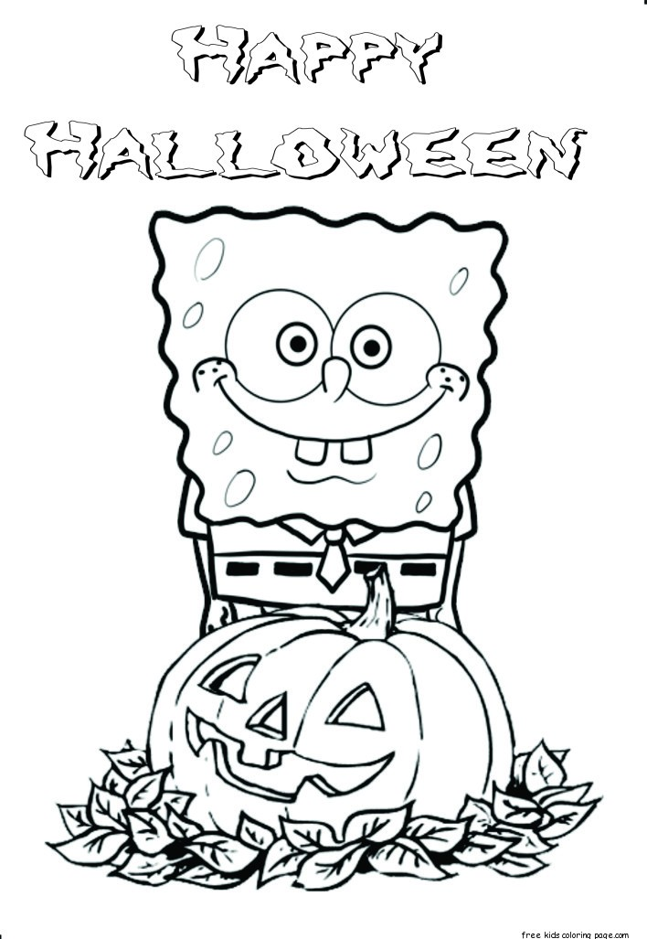 Printable halloween spongebob coloring pagesfree printable for Halloween print out coloring pages
