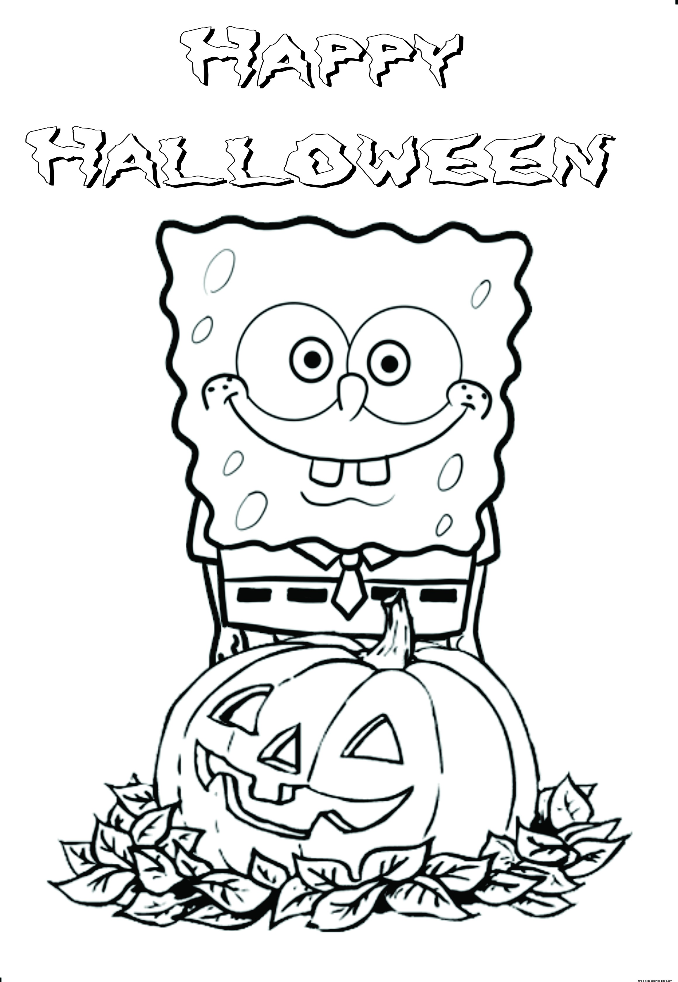 Printable halloween spongebob coloring