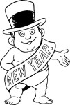 Printabel coloring pages New Year Baby