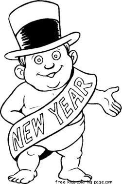 Best Coloring For Kids : Print out new year baby coloring page