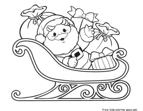 father christmas sleigh coloring pages for kids | Santa Claus with Sleigh and Gifts - Free Printable ...