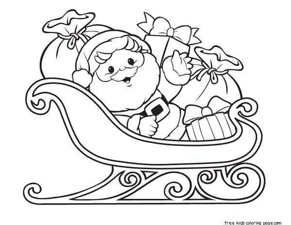 Santa Claus Printable Coloring Pages With Sleigh And Gifts Free