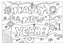 Printable coloring pages Happy New Year 2016
