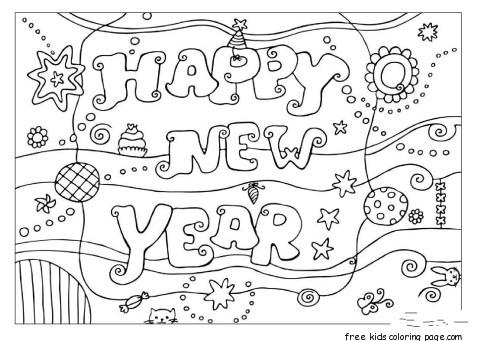 Printable coloring pages happy new year 2016free printable for Happy new year coloring pages 2016