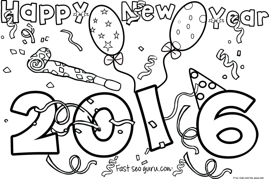 happy new year 2016 printable coloring pages - Free Printable ...