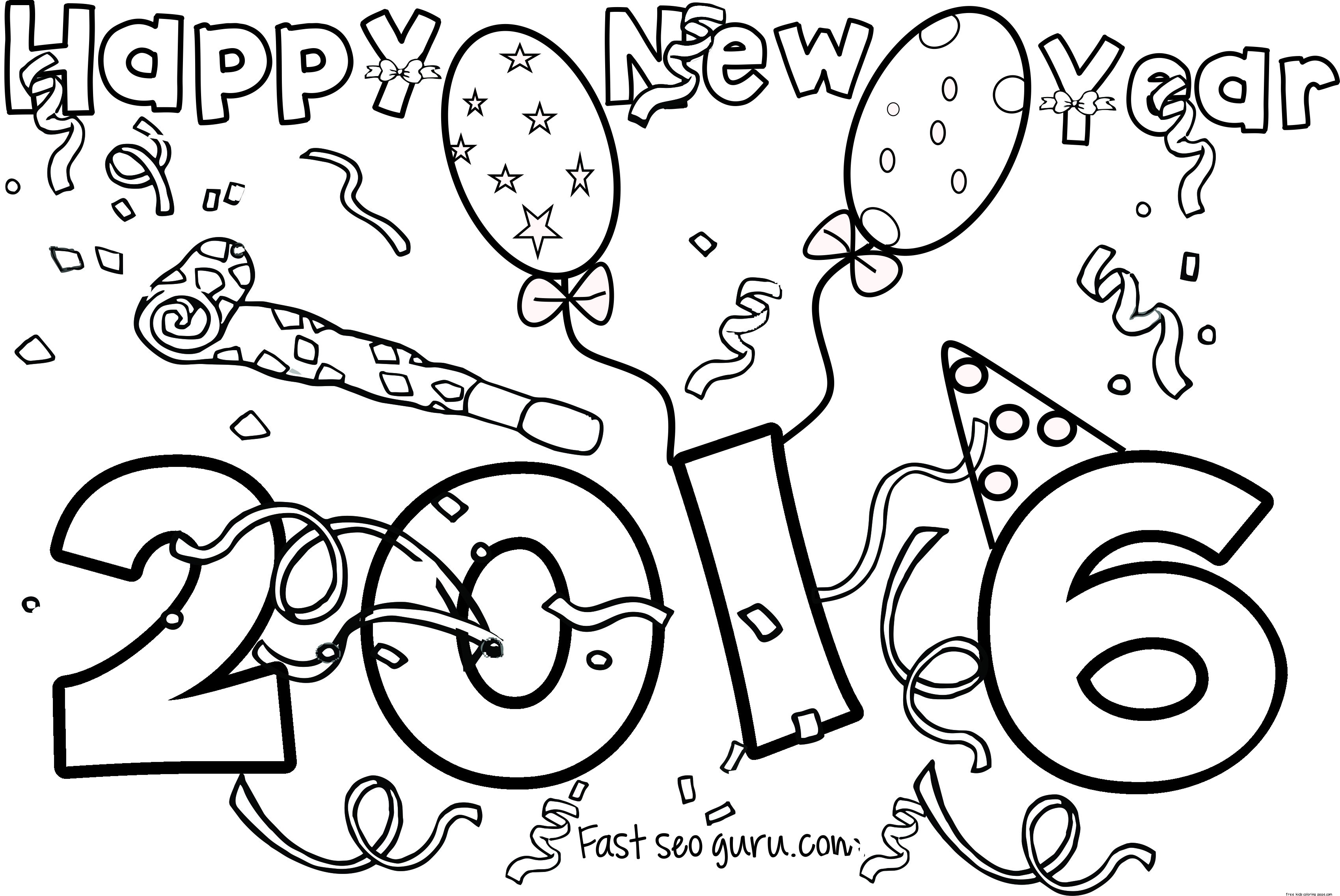 coloring pages new years - happy new year 2016 printable coloring pages free