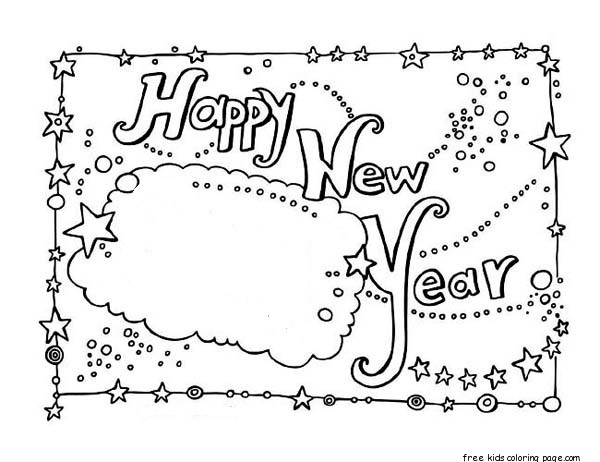 New year card coloring Free Printable