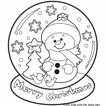 Christmas Snow Globe Whit Snowman Coloring Pages