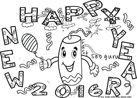 new year fireworks coloring pages for kids - Free Printable ...