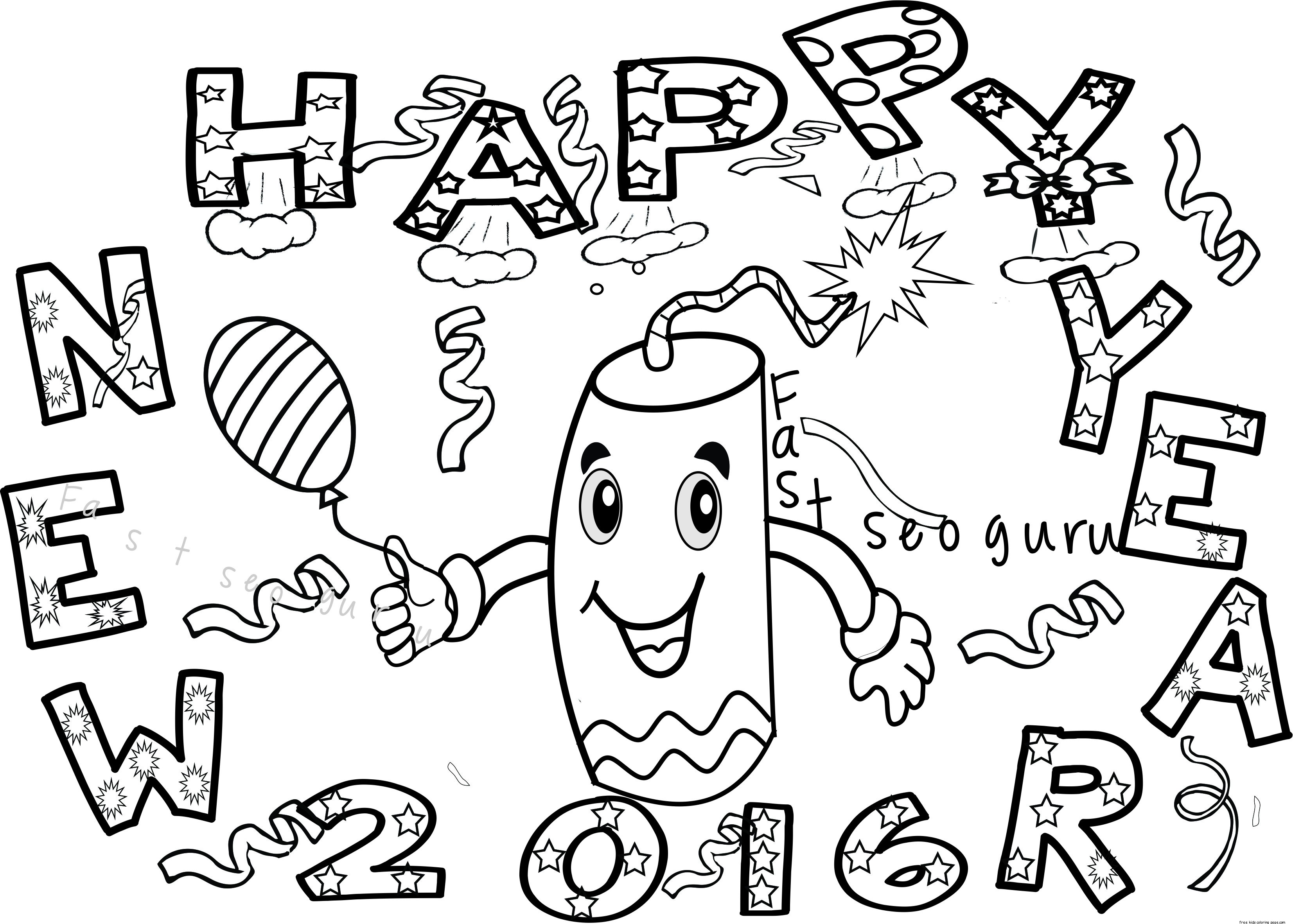New Year Fireworks Coloring Pages For Kids
