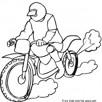 Racing on the motorbike coloring page