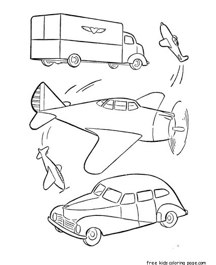 Military car and airplane Free Printable Coloring Pages