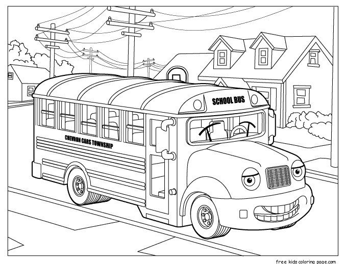 School Bus coloring Free Printable