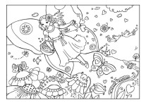 Printable Valentine day fairy colouring page_1