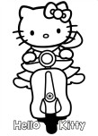 Printable hello kitty scooter coloring pages for kids