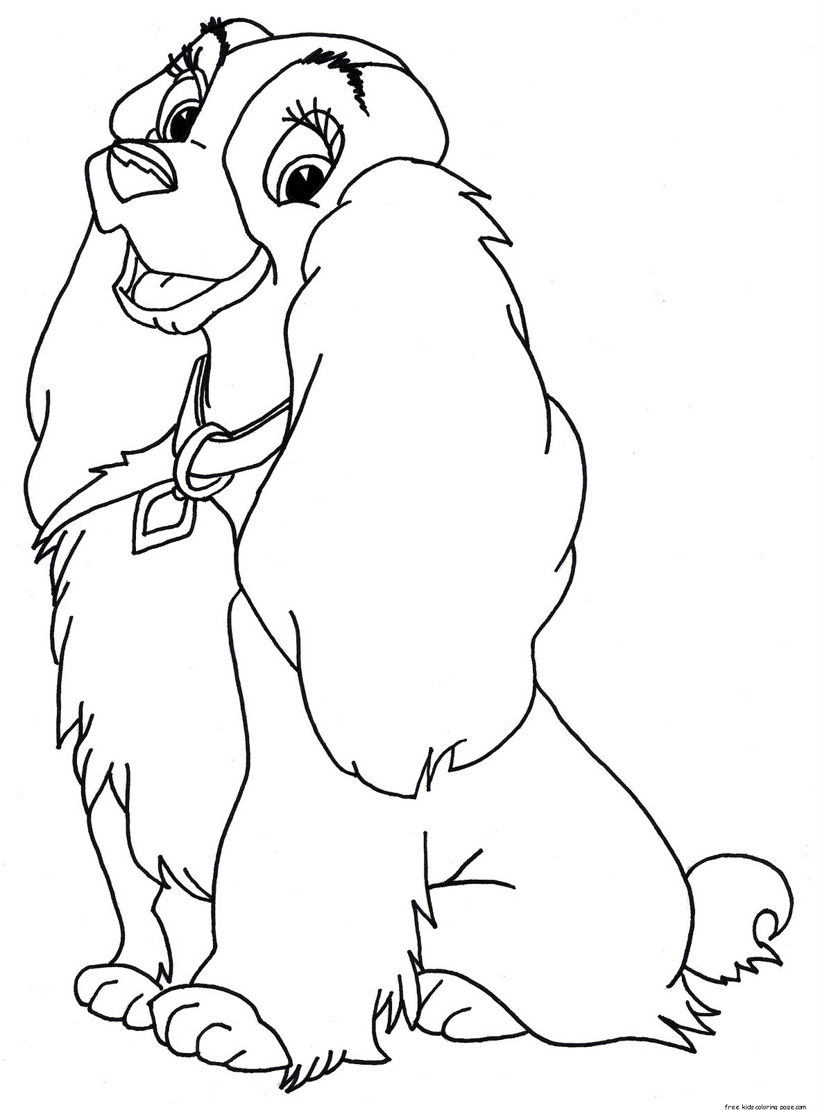 Lady and the tramp coloring pages free printable Disney animals coloring book