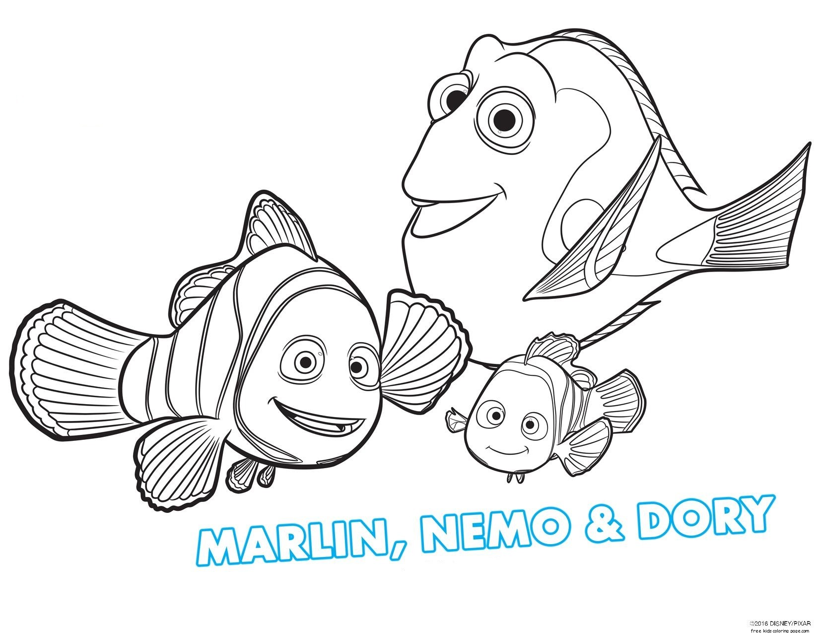 Free printable finding dory coloring