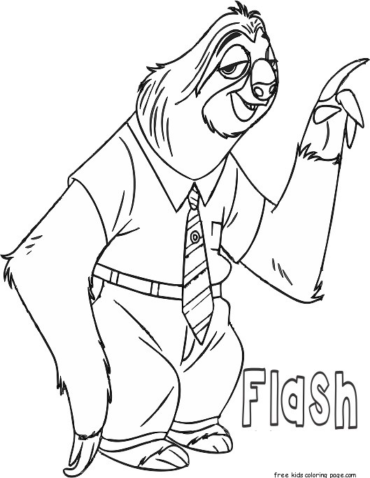 zootopia flash coloring page printable