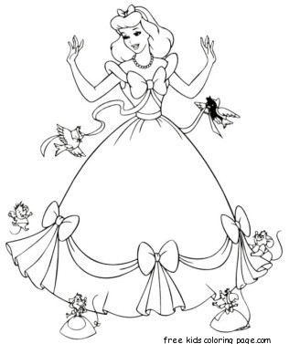 Cinderella dress up coloring pages printable for girlsFree
