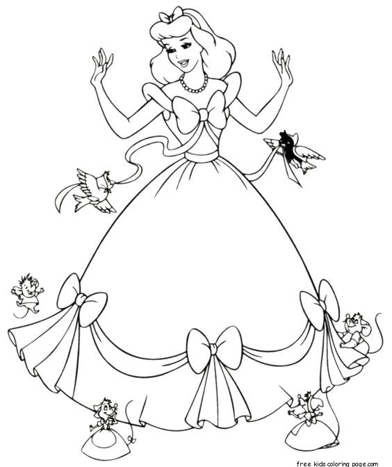 free cinderella coloring pages - cinderella dress up coloring pages printable for girlsfree