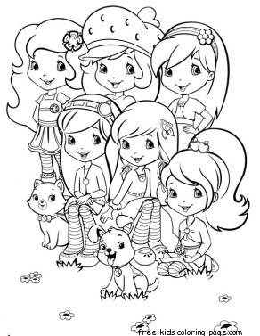 print out strawberry shortcake coloring page for kdis