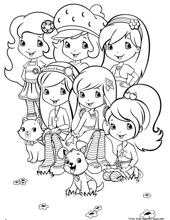 Print Out Strawberry Shortcake Friends Coloring Page