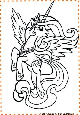 Printable my little pony princess celestia coloring pages for kids