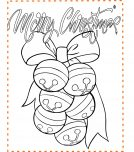 Merry Christmas bells drawing coloring page for kids